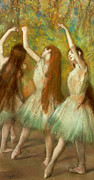 Impressionist Pastels Framed Prints - Green Dancers Framed Print by Edgar Degas