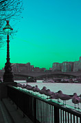 Street Lamp Posters - Green day in London Poster by Jasna Buncic
