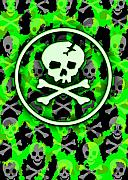 Horror Digital Art - Green Deathrock Skull by Roseanne Jones