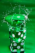 Water Play Posters - Green Dice Splash Poster by Steve Gadomski