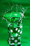 Green Dice Splash Print by Steve Gadomski