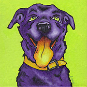 Funny Pet Paintings - Green Dog by Robin Wiesneth