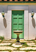 Claremont Posters - Green Door and Birdbath Poster by Steven Ainsworth