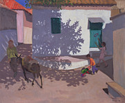 Village Prints - Green Door and Shadows Lesbos Print by Andrew Macara