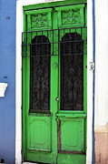 Old School Galleries Tapestries Textiles Acrylic Prints - Green Door in Bogota Acrylic Print by John Rizzuto