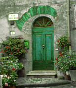 Cobblestones Photos - Green Door by Karen Lewis
