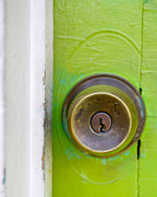 Knob Prints - Green Door Print by Pam Kennedy