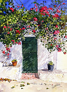 Margaret Merry Framed Prints - Green door with Bougainvillea Framed Print by Margaret Merry