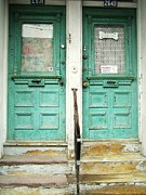 Old Montreal Art - Green Doors by Reb Frost