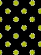 Green Color Art - Green Dots On Black Background by Lana Sundman