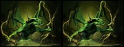 Conversion Digital Art - Green Dragon - Gently cross your eyes and focus on the middle image by Brian Wallace