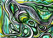 Free Form Paintings - Green Dream by Larry Calabrese