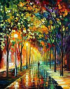 Original Fall Landscape Paintings - Green Dreams by Leonid Afremov