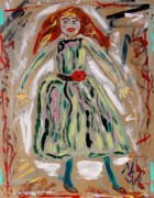 Primitive Drawings - Green Dress Dancer by Mary Carol Williams