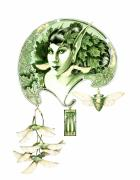 Fantasy Tree Art Drawings Prints - Green Dryad Print by Melissa A Benson