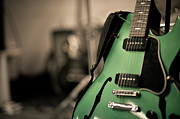 Arts Culture And Entertainment Metal Prints - Green Electric Guitar With Blurry Background Metal Print by Sean Molin - www.seanmolin.com