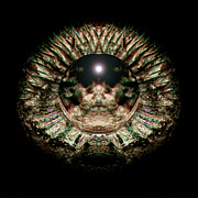 Psychedelic Photo Prints - Green Eye Sphere Print by David Kleinsasser