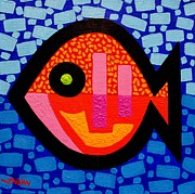 Naive Paintings - Green Eyed Fish  by John  Nolan
