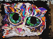 Cat Portraits Mixed Media Prints - Green Eyed Kitty Print by Julie Hiskett