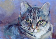 Gray Cat Paintings - Green Eyed Tabby - Thomasina by Kimberly Santini