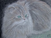 Cat Drawings Prints - Green Eyes Print by Cybele Chaves
