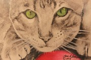 Paws Painting Originals - Green Eyes by Terri Thompson