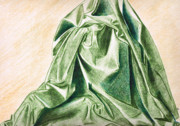 Life Drawings - Green Fabric by Zara GDezfuli