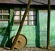Hardware Shop Framed Prints - Green Facade with parallels lines and circle. Belgrade. Serbia Framed Print by Juan Carlos Ferro Duque