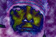 Trippy Digital Art - Green Face Purple Eyes by Joshua Sunday