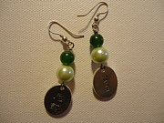 Glitter Earrings Jewelry Metal Prints - Green Faith Earrings Metal Print by Jenna Green