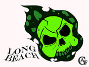 Skull Paintings - Green Fire Skull by Alfonso  f Gallegos