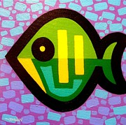 Dots Paintings - Green Fish by John  Nolan