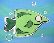 Hanging Pastels Originals - gREEN fISH  by Mara Morea
