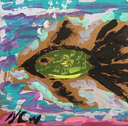 Primitive Drawings - Green Fish Over Pink Sand by Mary Carol Williams