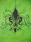 Green Fleur De Chandelier Print by Marian Hebert
