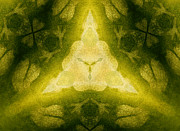 Gold Lime Green Art - Green Floral Triangle by Linda Phelps