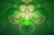 Abstract Designs Posters - Green Fractal Poster by Sandy Keeton