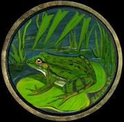 Folkartanna Paintings - Green Frog by Anna Folkartanna Maciejewska-Dyba