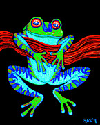 Amphibians Art - Green Frog Hanging On by Nick Gustafson