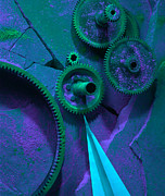 Machinery Photo Posters - Green Gears Poster by Ron Schwager