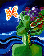 Fine Art Original Prints - Green Girl With Butterfly Print by Genevieve Esson