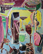 Table Cloth Paintings - Green glass by Joseph Mamos