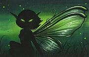 Silhouette Painting Metal Prints - Green Glow Metal Print by Elaina  Wagner