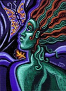 Hair Abstract Art Paintings - Green Goddess With Butterfly by Genevieve Esson
