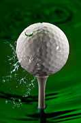 Game Photo Posters - Green Golf Ball Splash Poster by Steve Gadomski
