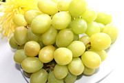 Bunch Of Grapes Posters - Green Grapes and Mum Poster by Barbara Griffin