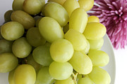 Bunch Of Grapes Posters - Green Grapes and Purple Mum Poster by Barbara Griffin