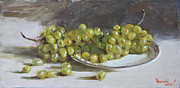 Grapes Paintings - Green Grapes  by Ylli Haruni