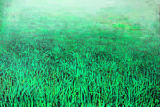 Paiting Metal Prints - Green Grass Metal Print by Lolita Bronzini