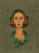 Green Hat Carre Woman Face  Print by Rachel Hershkovitz
